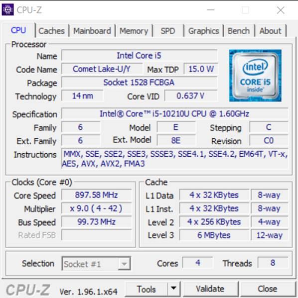 CPU Z showing processor specs