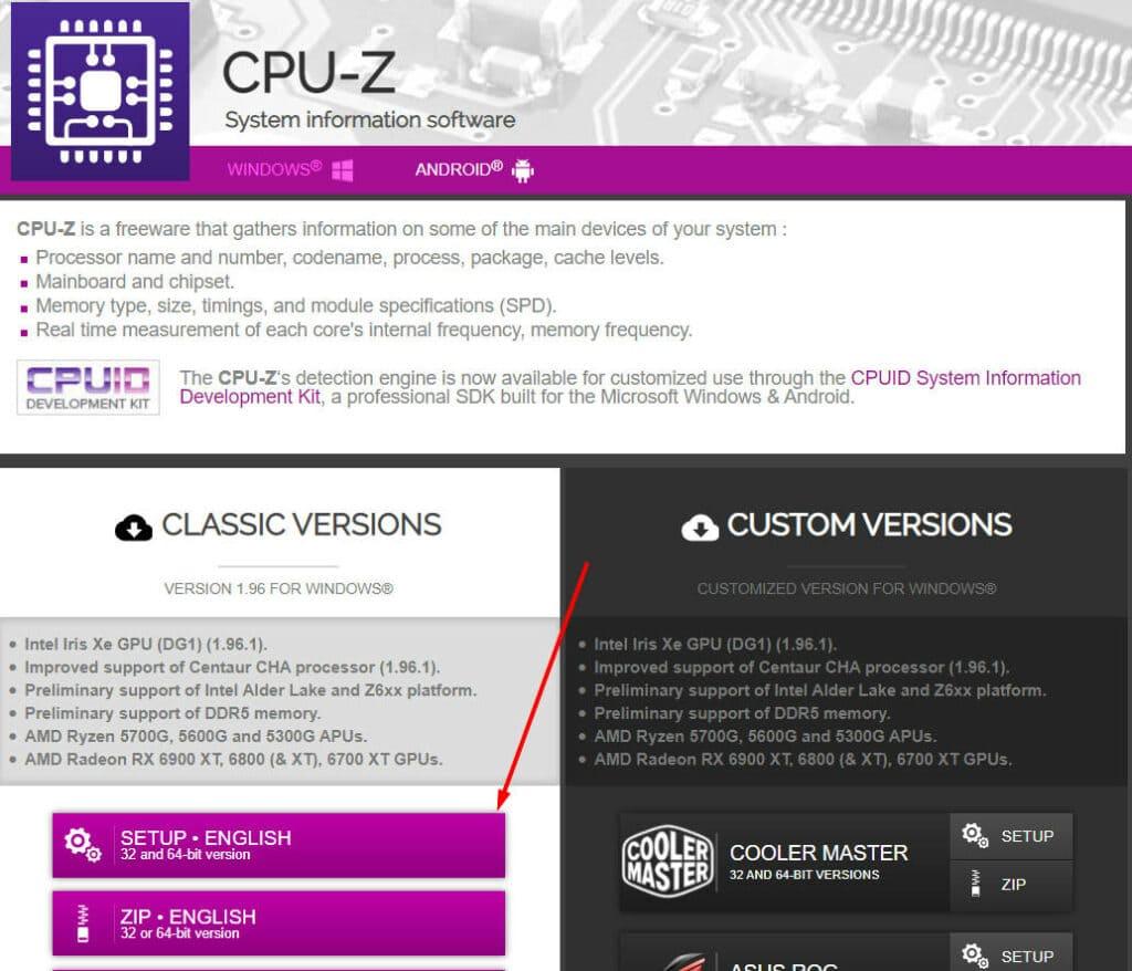 Download website for CPU Z