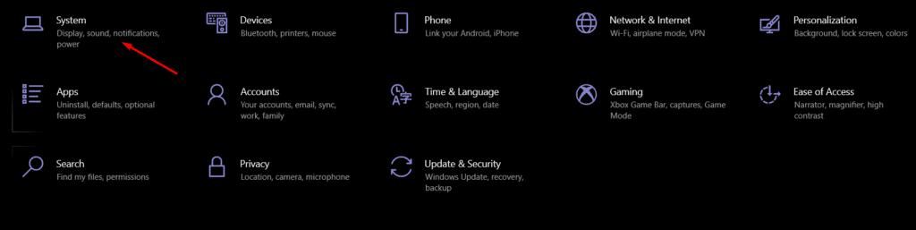 Windows 10 Settings window