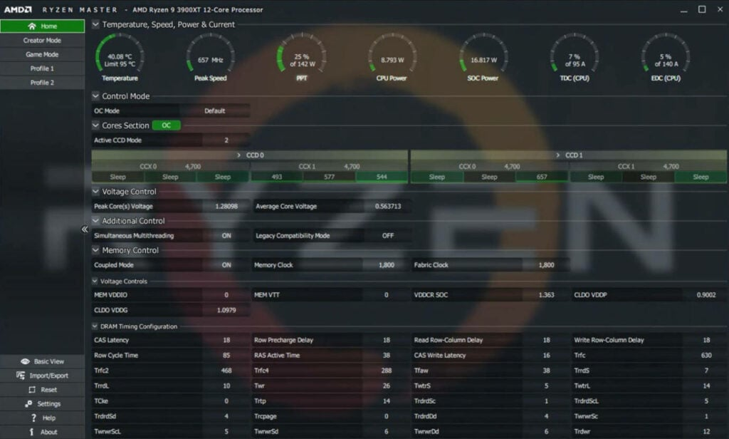 AMD Ryzen Master Utility Advanced View