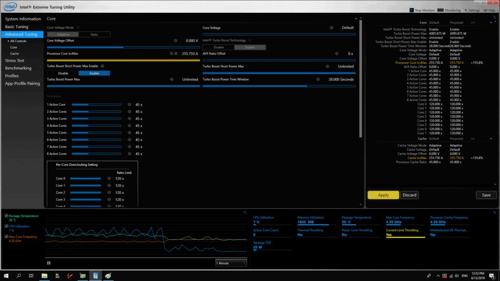 Adjusting multipliers on Intel XTU