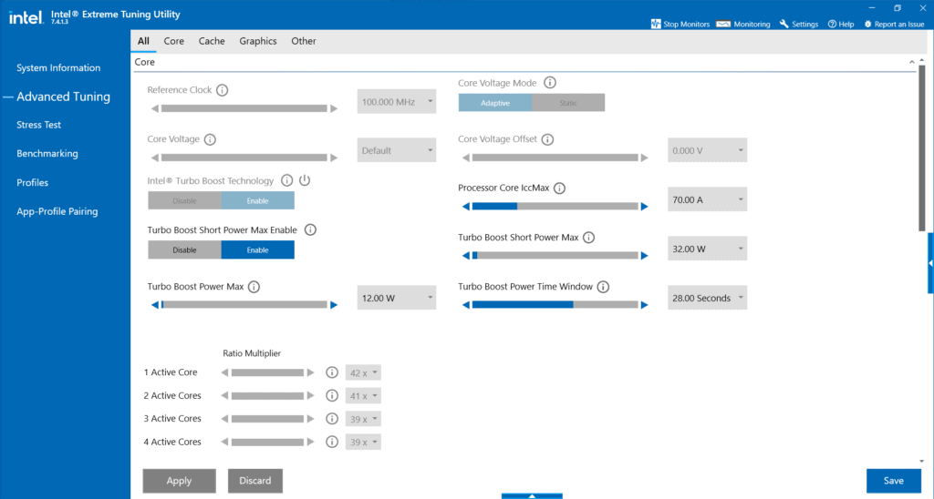 Intel Extreme Tuning Utility Advanced Tuning tab