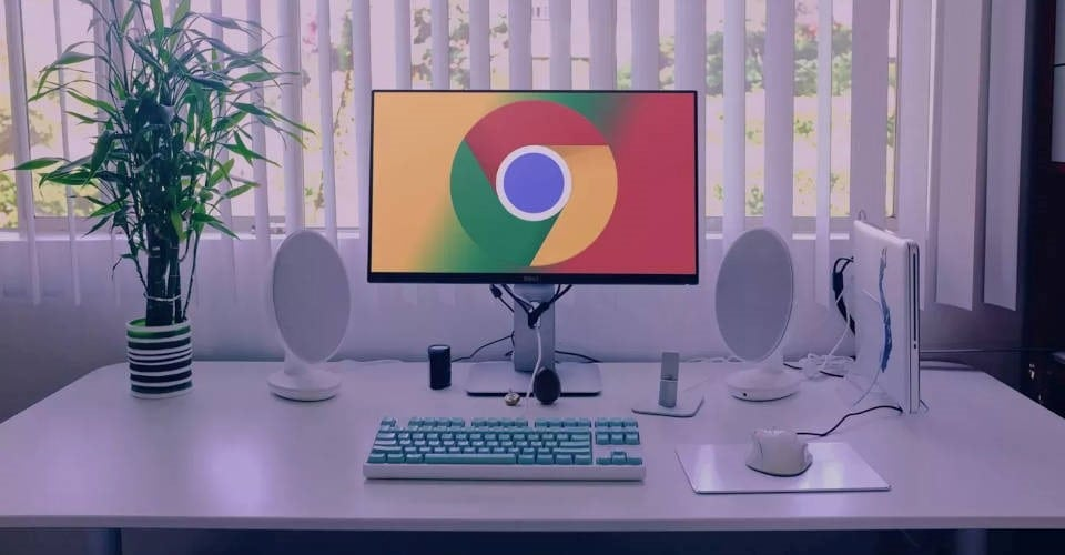 computer with Google Chrome logo on screen